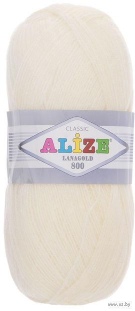 """Пряжа """"ALIZE. Lana Gold 800 №01"""" (100 г; 800 м; кремовый) — фото, картинка"""