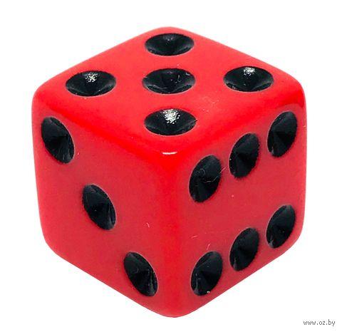 """Кубик D6 """"Простой"""" (16 мм; красно-чёрный) — фото, картинка"""