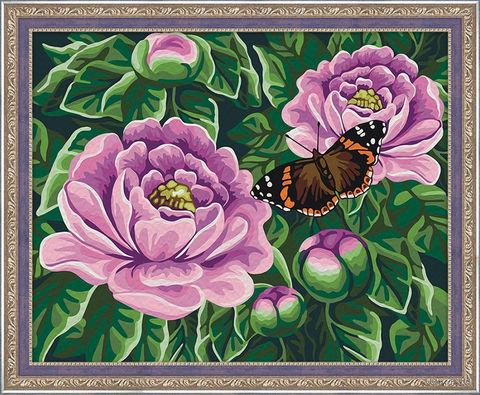 """Картина по номерам """"Бабочка на пионах"""" (400х500 мм) — фото, картинка"""