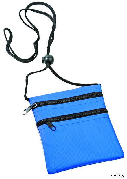 Нагрудный кошелек с 2-мя отделениями на молнии и прозрачным карманом (синий) — фото, картинка