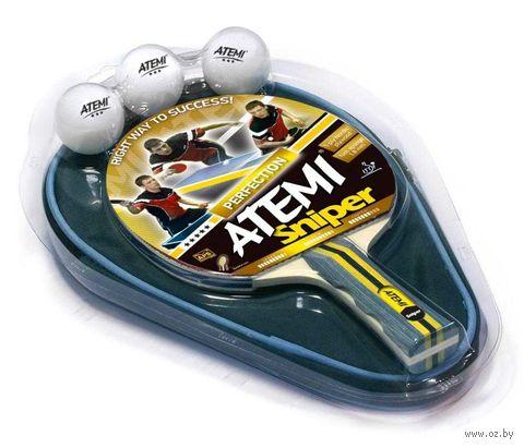 "Набор для настольного тенниса ""Sniper"" (1 ракетка+3 мяча+чехол; 3 звезды) — фото, картинка"