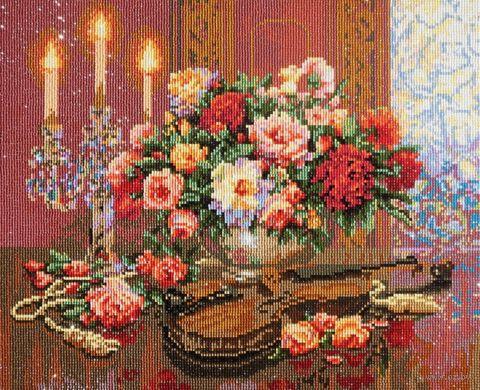 """Алмазная вышивка-мозаика """"Скрипка при свечах"""" (400х500 мм) — фото, картинка"""