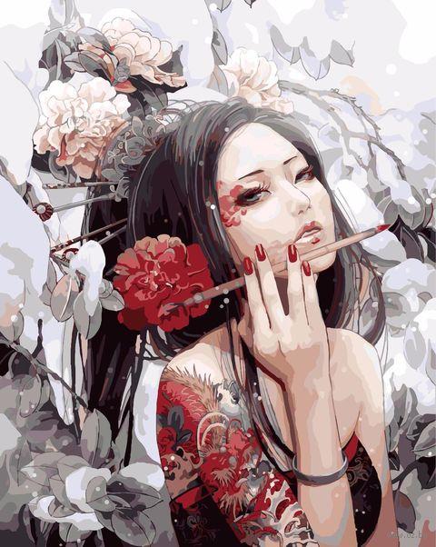 """Картина по номерам """"Девушка с татуировкой дракона"""" (400х500 мм) — фото, картинка"""