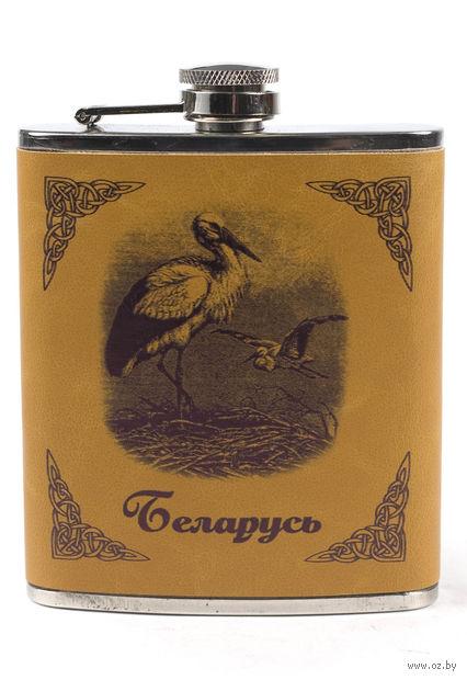 "Фляжка металлическая ""Беларусь. Аист"" (210 мл)"