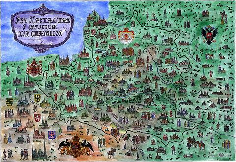 Ілюстраваная мапа. Рэч Паспалітая ў сярэдзіне XVIII ст. — фото, картинка