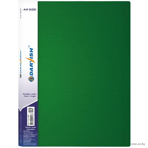 """Папка на кольцах """"Darvish"""" (А4; 4 кольца; зеленая; арт. DV10-4K)"""
