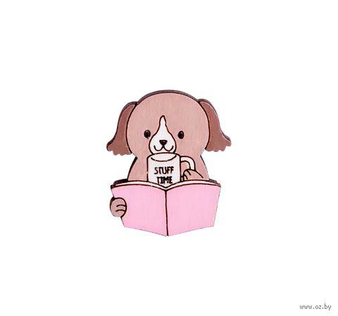 """Значок-пин """"Пёсик с книжкой"""" (арт. 116) — фото, картинка"""