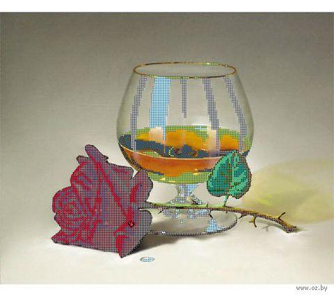 """Канва с нанесенным рисунком """"Коньяк и роза"""""""