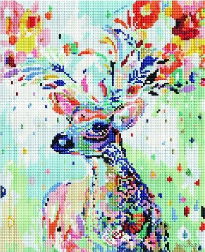 """Алмазная вышивка-мозаика """"Цветочный олень"""" (300х400 мм) — фото, картинка"""