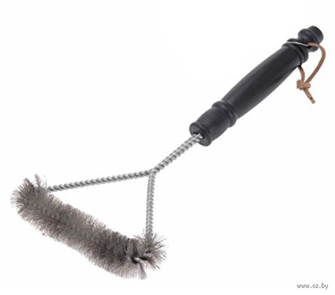 Щетка для чистки гриля металлическая с пластмассовой ручкой (29 см)