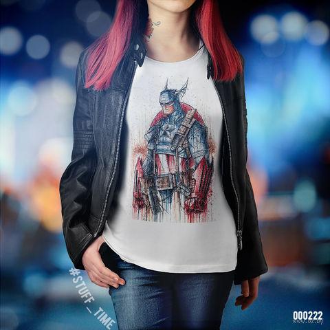"Футболка женская ""Капитан Америка"" (M; арт. 222) — фото, картинка"
