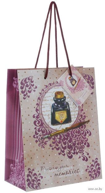 """Пакет бумажный подарочный """"Чернильница"""" (17,8х22,9х9,8 см; арт. 39658) — фото, картинка"""