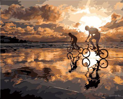 "Картина по номерам ""Велопробег на закате"" (400х500 мм) — фото, картинка"