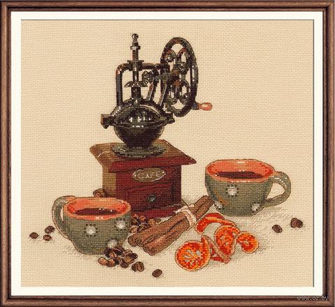 """Вышивка крестом """"Кофейная история"""" (240х230 мм) — фото, картинка"""