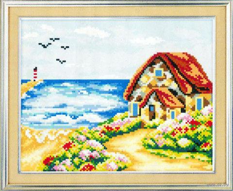 "Алмазная вышивка-мозаика ""Домик на берегу"" (350х300 мм) — фото, картинка"