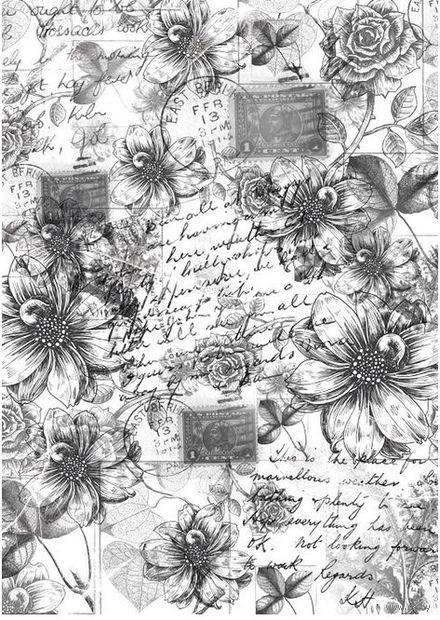 """Пленка-оверлей """"Винтажные георгины и розы"""" (210х300 мм)"""