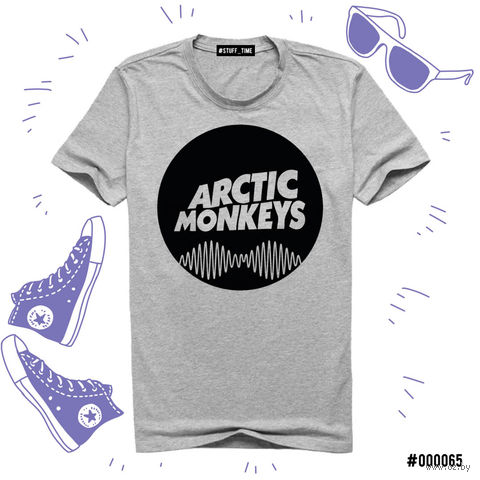 "Футболка серая унисекс ""Arctic Monkeys"" XXXL (065)"