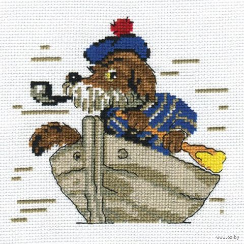 "Вышивка крестом ""Пёс морячок"" (130х140 мм) — фото, картинка"