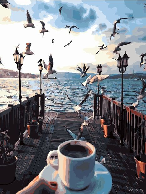 "Картина по номерам ""Кофе на причале"" (400х500 мм) — фото, картинка"