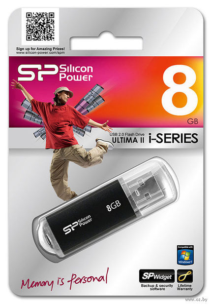 USB Flash Drive 8Gb Silicon Power Ultima II-I Series (Black)