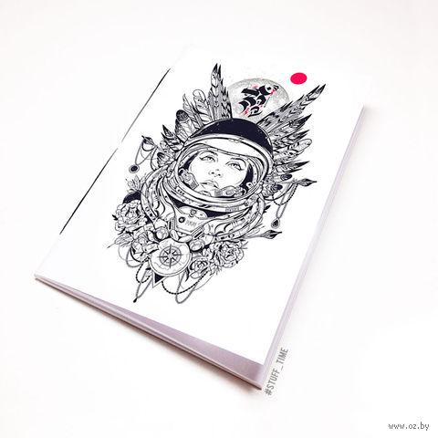 """Блокнот белый """"Девушка космонавт"""" А6 (454)"""