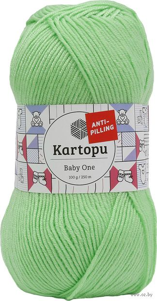 "Пряжа ""KARTOPU. Baby One №K491"" (100 г; 250 м; темно-салатовый) — фото, картинка"