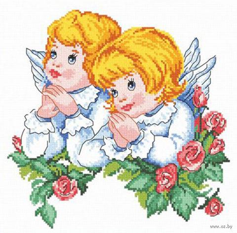 "Вышивка крестом ""Ангелочки"" (230x230 мм) — фото, картинка"