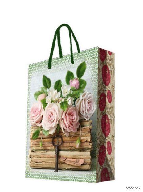 """Пакет бумажный подарочный """"Книги и розы"""" (17,8х22,9х9,8 см; арт. 44174) — фото, картинка"""