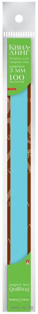 Бумага для квиллинга цветная (0,3х30 см; голубая; 100 шт.) — фото, картинка