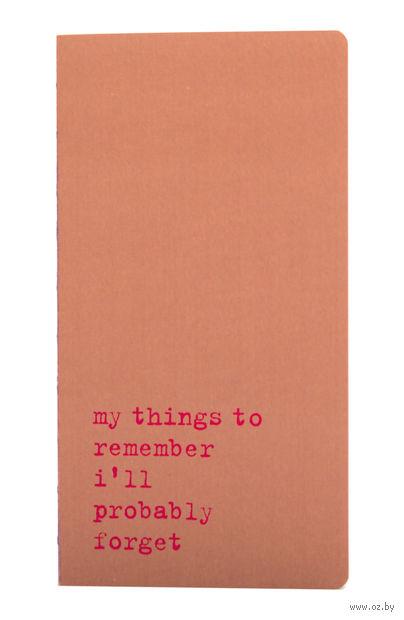 "Записная книжка в линейку ""Chapter. My Things to Remember"" (95х180 мм; розовая) — фото, картинка"