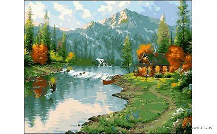 "Картина по номерам ""Горы и озеро"" (400x500 мм) — фото, картинка"