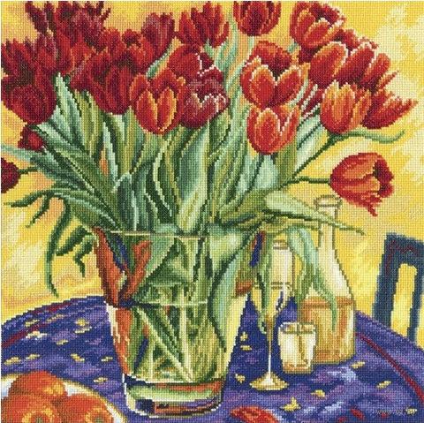"""Вышивка крестом """"Тюльпаны на столе"""""""