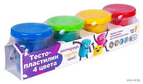 """Тесто для лепки """"Тесто-пластилин"""" (4 цвета; арт. TA1008V) — фото, картинка"""