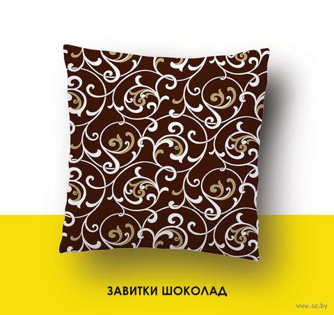 "Наволочка хлопковая ""Завитки шоколад"" (70x70 см) — фото, картинка"
