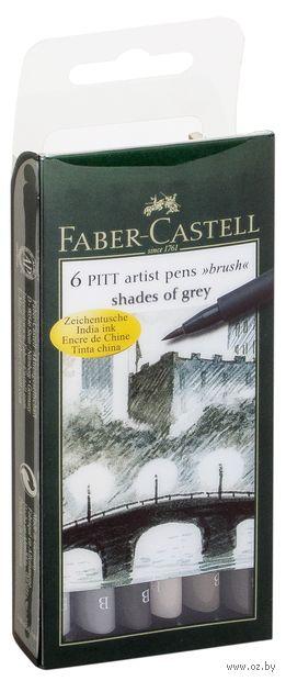 """Набор брашпенов """"Pitt Artist Pen"""" (6 шт.; оттенки серого) — фото, картинка"""