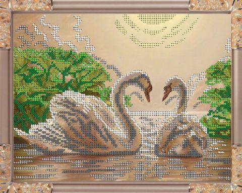 """Вышивка бисером """"Лебеди"""" (190х240 мм)"""