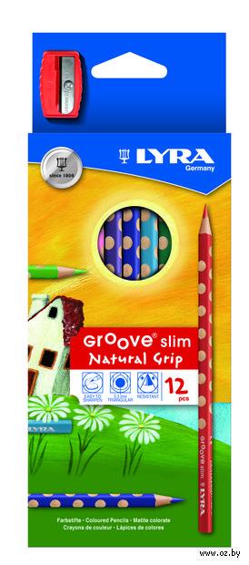 "Цветные карандаши ""GROOVE SLIM"" (12 цветов + точилка)"