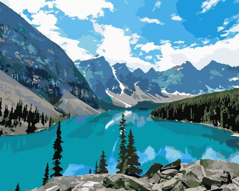 "Картина по номерам ""Горное озеро"" (400x500 мм) — фото, картинка"
