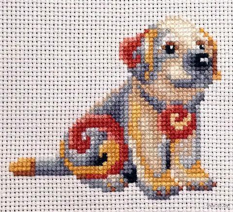 """Вышивка крестом """"Собака"""" (120х120 мм) — фото, картинка"""