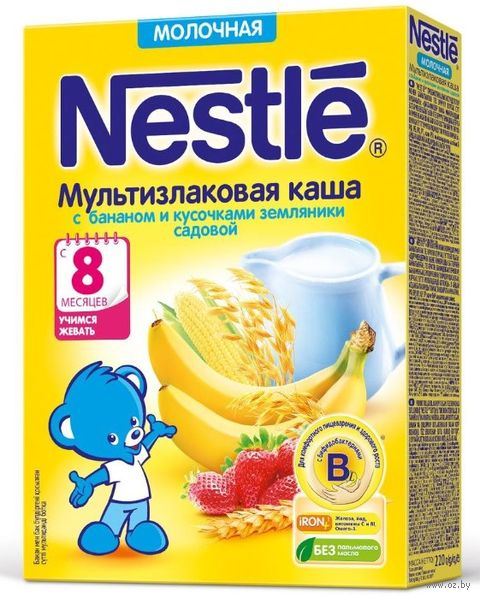 """Детская каша Nestle """"Мультизлаковая с бананом и кусочками земляники"""" (220 г) — фото, картинка"""