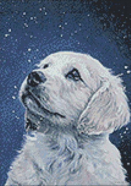 """Алмазная вышивка-мозаика """"Пёсик и снежинки"""" (270х380 мм) — фото, картинка"""