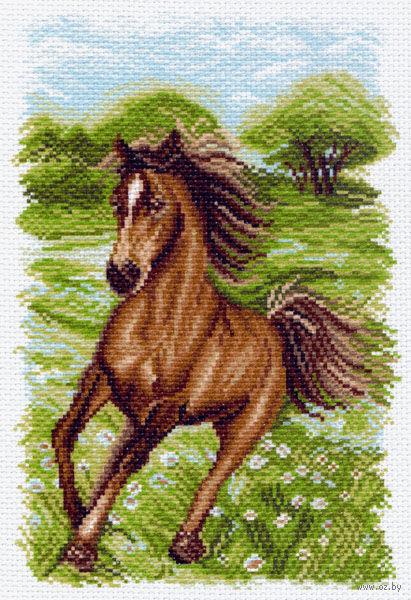 """Канва с нанесенным рисунком """"Пейзаж с лошадью"""""""