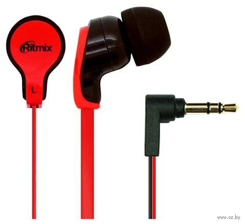 Наушники Ritmix RH-183 (черно-красные) — фото, картинка