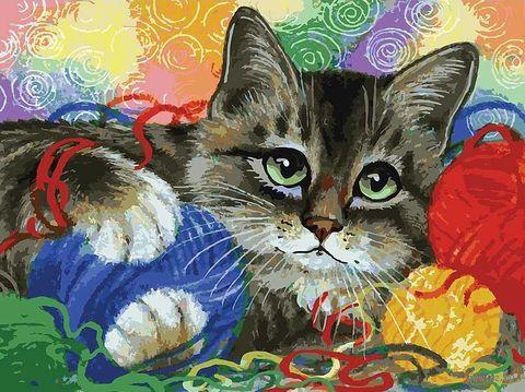 "Картина по номерам ""Котик с клубочками"" (300х400 мм) — фото, картинка"