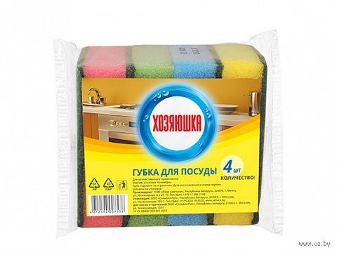 Губка для мытья посуды (4 шт.; 100х70х29 мм) — фото, картинка