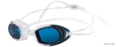 Очки для плавания (бело-синие; зеркальные; арт. N9102M) — фото, картинка
