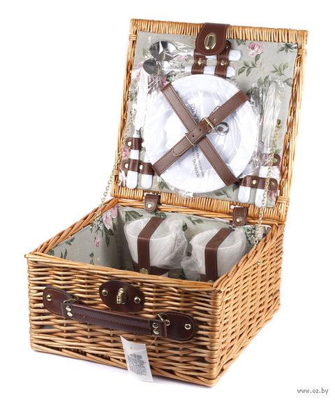Набор посуды для пикника в корзине (на 2 персоны; арт. 10593167) — фото, картинка