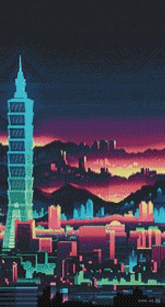 """Алмазная вышивка-мозаика """"Ночной небоскрёб"""" (380х700 мм) — фото, картинка"""