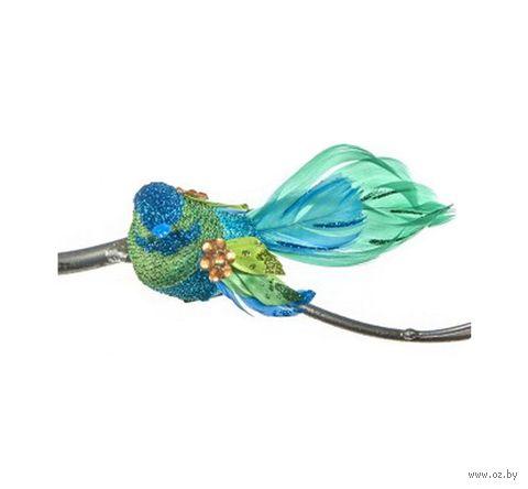 """Ёлочная игрушка на клипсе """"Пёстрая птица"""" (зелёная) — фото, картинка"""