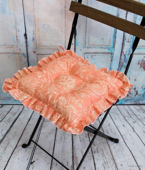 "Подушка на стул ""Ажур"" (35х35 см; оранжевая) — фото, картинка"